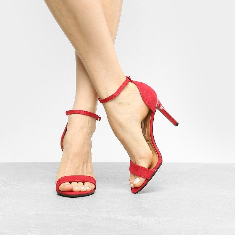 e058927d2f sandália vizzano salto alto tira básica camurça feminina -. Carregando zoom.