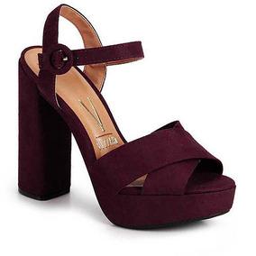a690029dc4 Sandalia De Salto Grosso Vinho Feminino - Calçados