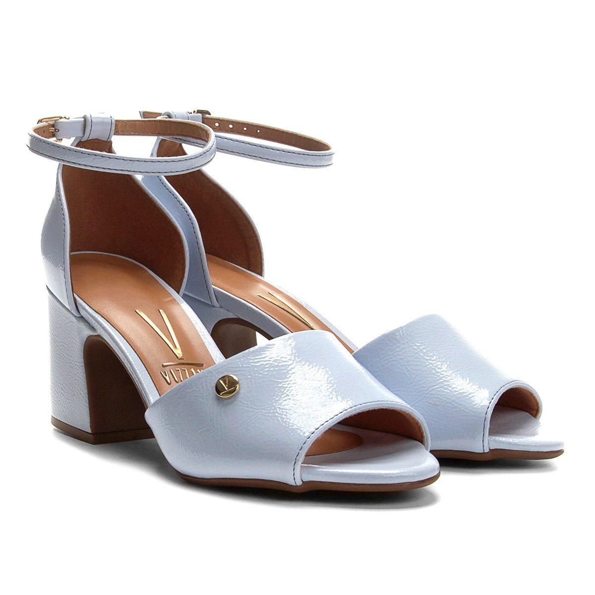 298bf755a7 sandália vizzano salto grosso médio verniz craquelado. Carregando zoom.