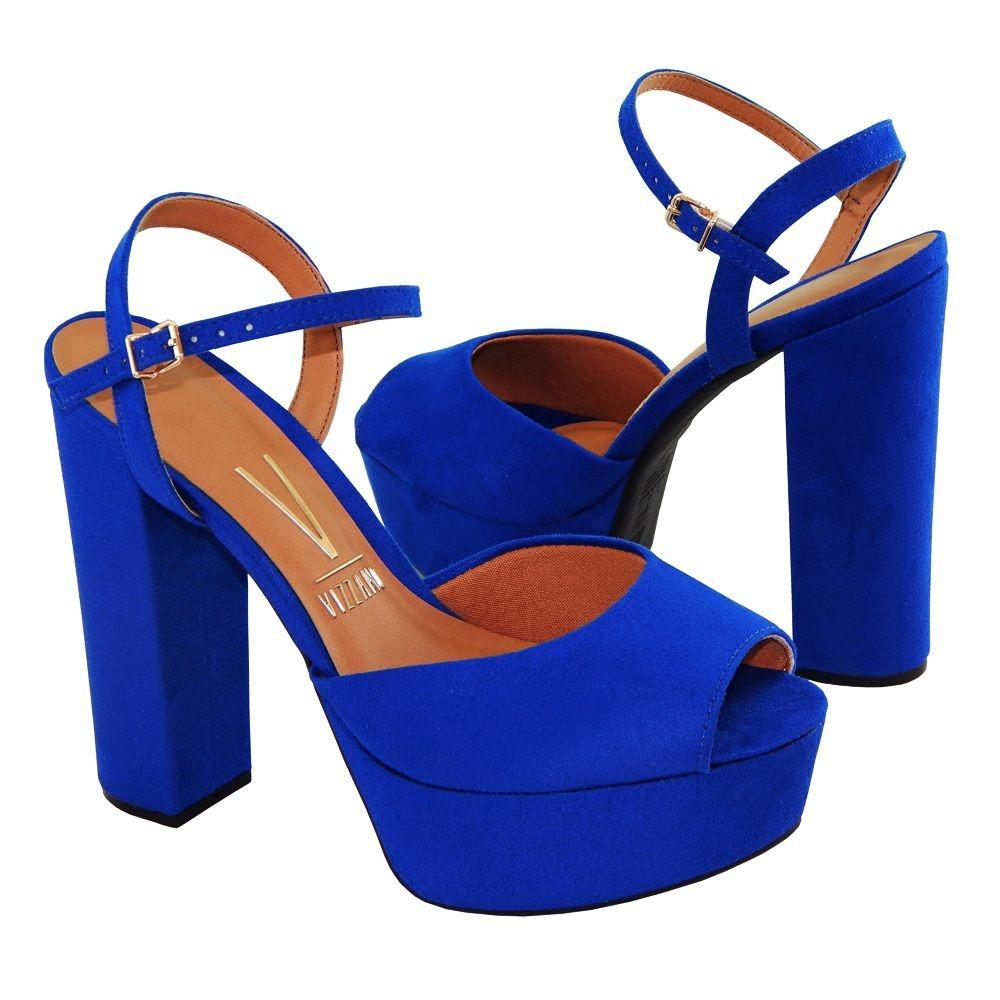 fc1d60a13 sandália vizzano salto grosso meia pata camurca 6282100 azul. Carregando  zoom.