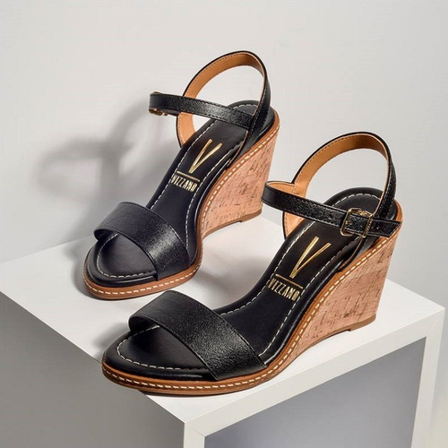 sandália vizzano salto médio anabela tipo cortiça - preta