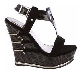 Mujeres Tacon Negro Con Flores Zapatos Mercado Wedge En Sandalias JKFc1l