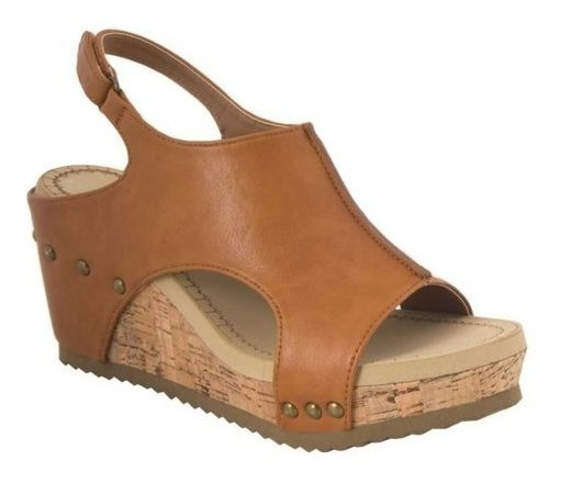 comprar popular ad0ad cc2e9 Sandalias 85145 Est Botin Camel Tacon Medio Plataforma Cuñas
