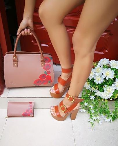 sandalias altas plataforma +cartera+bolso combo de mujer