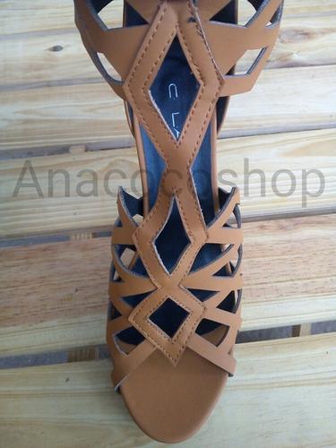 sandalias altas tipo botin bota caramelo 8.5