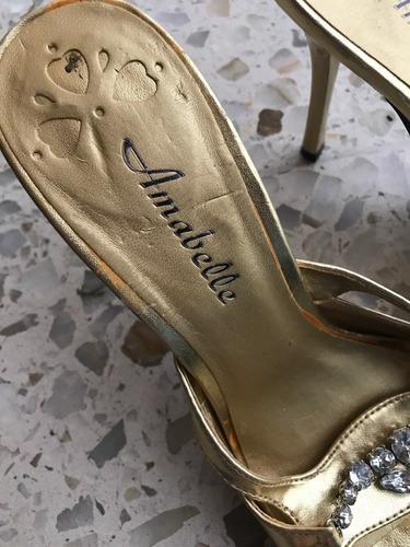 sandalias amabelle doradas piedra brillante fiesta oro