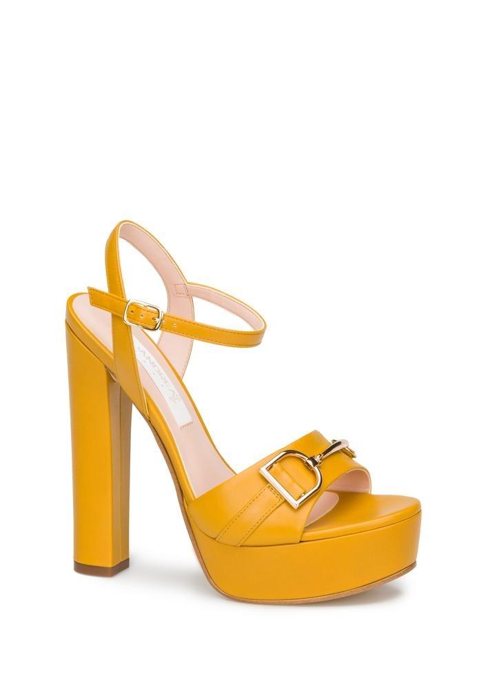 Amarillas Mujer 90 Andrea 2459349934 Ancho Tacón Sandalias En gy67Yfbv