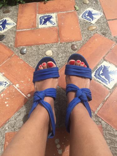 sandalias azules con plataforma semi nuevas envio gratis