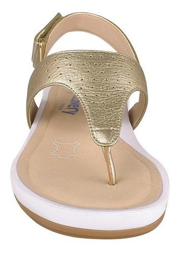 sandalias casuales flexi para mujer piel oro 35201