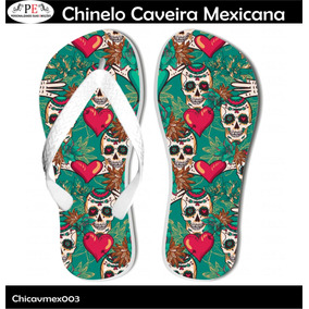 63168e721e Chinelo Caveira Mexicana! Feminino - Chinelos para Masculino no ...