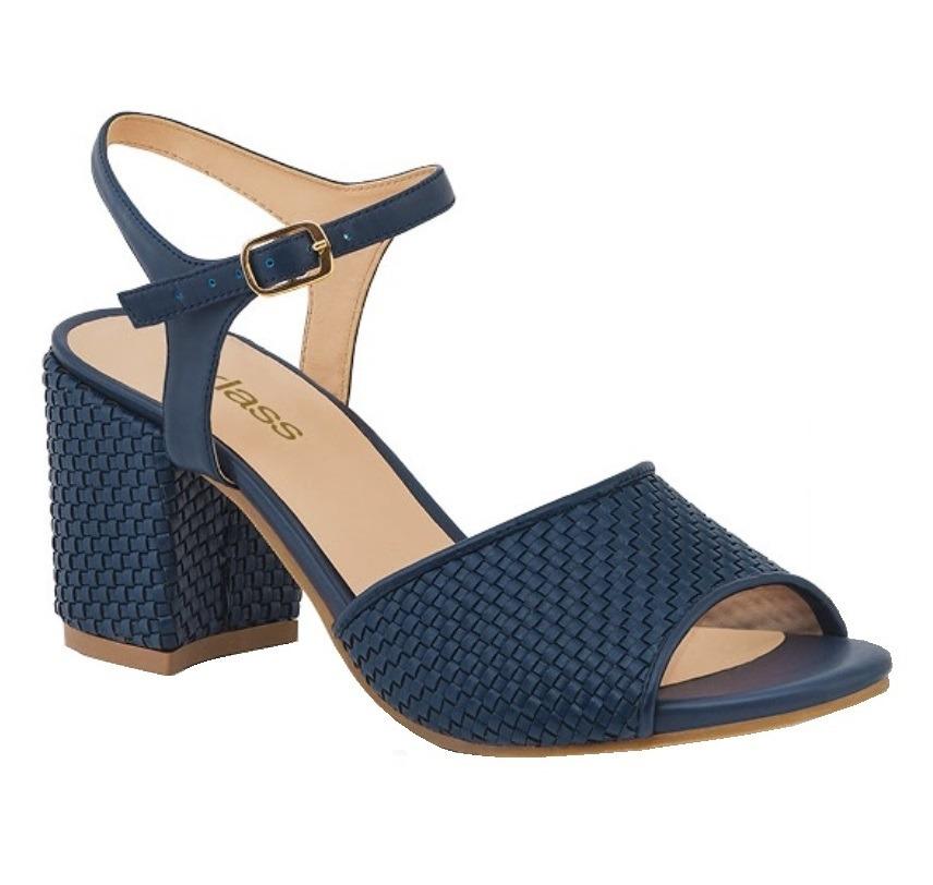 Sandalias 483 Azul Entretejidas 05 Tacón Ancho Itpkxuwoz Cklass Marino Y67gmfvbyI