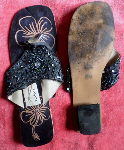 sandalias con mostacillas