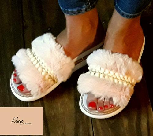 sandalias con pelo gomon bordadas!! hermosass