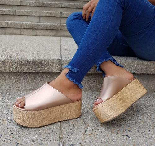 sandalias con plataforma hermosas + colores + moda + calidad