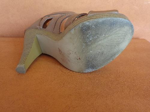 sandalias cuero ecologico marron  nro 35