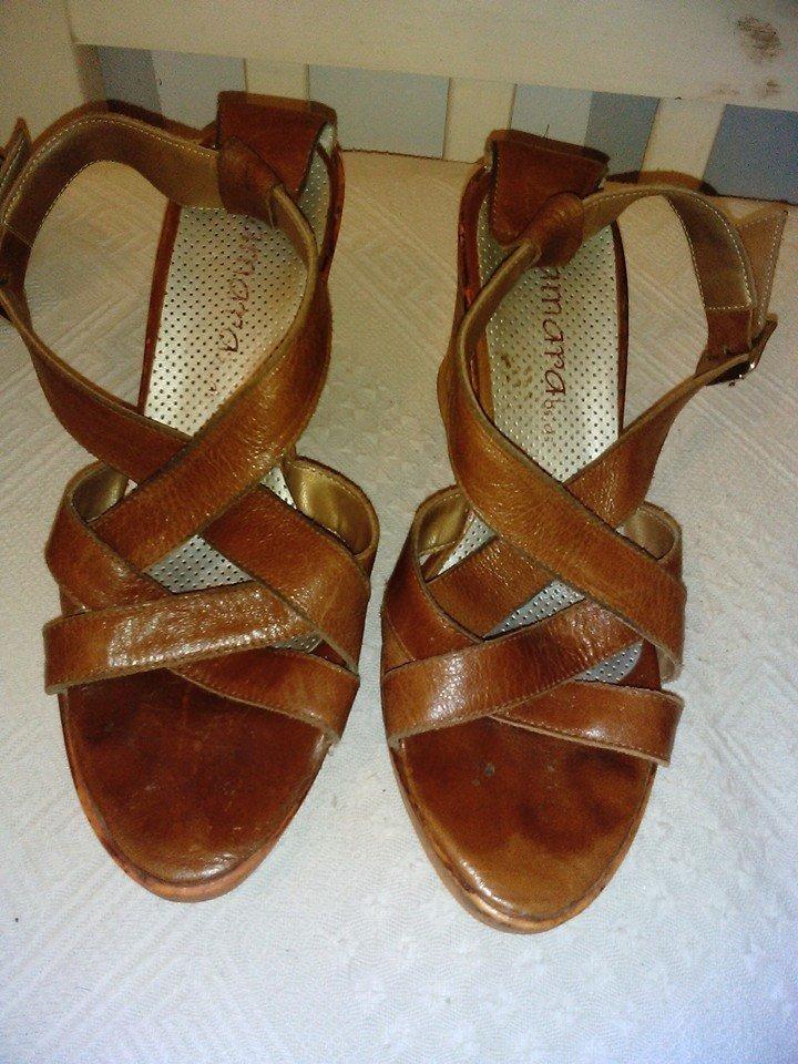 4332213cb7a sandalias cuero marron taco chino nº 36. Cargando zoom.