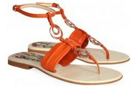 Cuero Orange Hippie Shoes Sandalias Chic Frou Naranja UzVqSGLMp