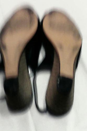 sandalias cuero negro n 36 con taco chino yute de 6 cm