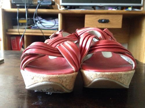 sandalias cuero rojo