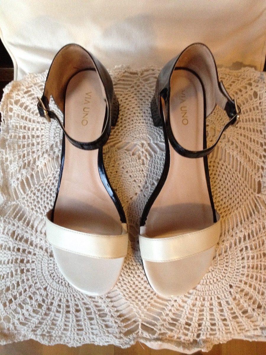 5fb7dcf43d0 sandalias de cuero blanco y negro fiesta vía uno charol. Cargando zoom.