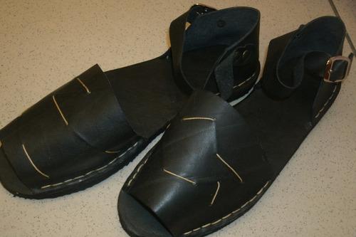 sandalias de cuero  negras artesanales