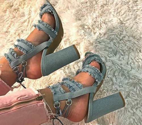 sandalias de jeans de damas