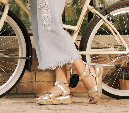 sandalias de plataforma hispana amaya oro para dama