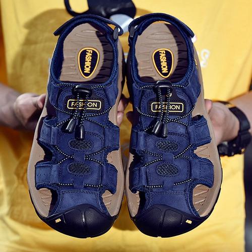 sandalias de playa zapatos de cuero cómodos para caballero