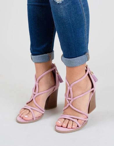 sandalias de tacón color lavanda correas cruzadas