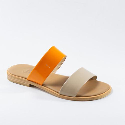 sandalias de tiras rectas - bygint: strize naranja