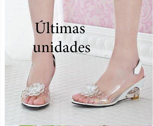 952ceba3c0 Sandálias De Verão Mulheres Peep Toe Sandálias Transparente - R  169 ...