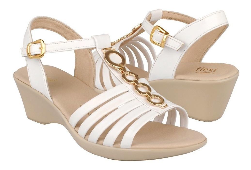Blanco Para Piel 28508 Vestir Mujer Flexi De Sandalias PuiZkOX