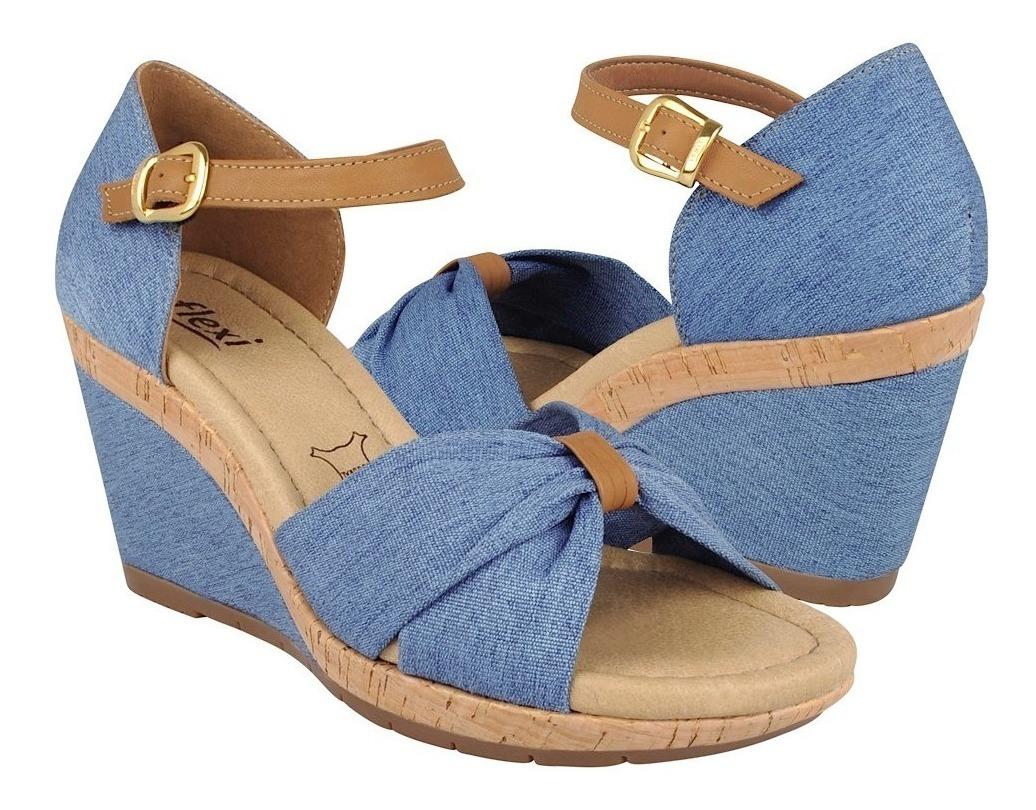 Mujer Azul 29601 Sandalias Flexi Textil Vestir De Para D29IYWEH