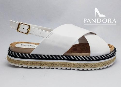 sandalias de yute beira rio cruzadas color blanco