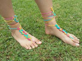 Descalzasadornos Artesanales En Sandalias Pies Crochet Para jARLc354Sq