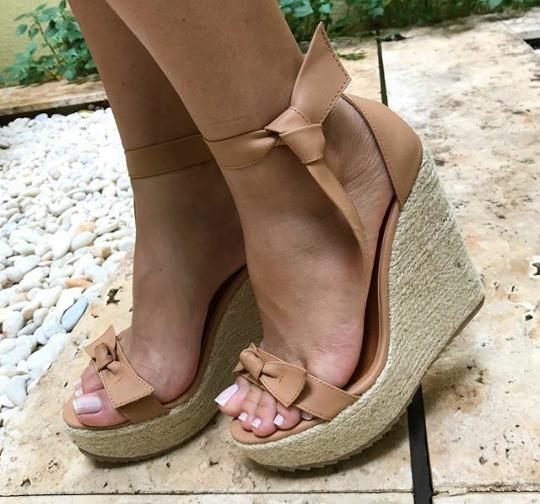 3852c2c1c Sandalias Femininas Anabela Moda Laço - R$ 195,00 em Mercado Livre