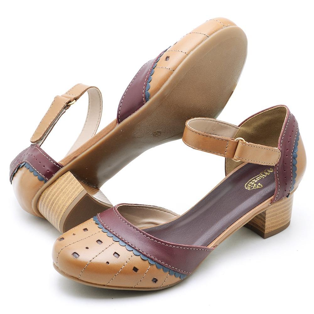 829b1bb82 sandalias femininas retro de couro salto medio grosso moda. Carregando zoom.