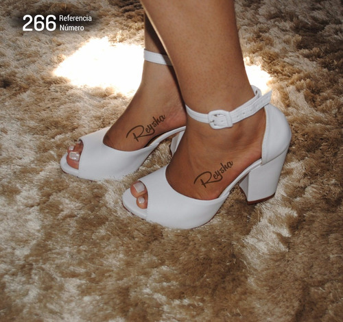 sandálias femininas salto beixo  branca  - estilo importadas