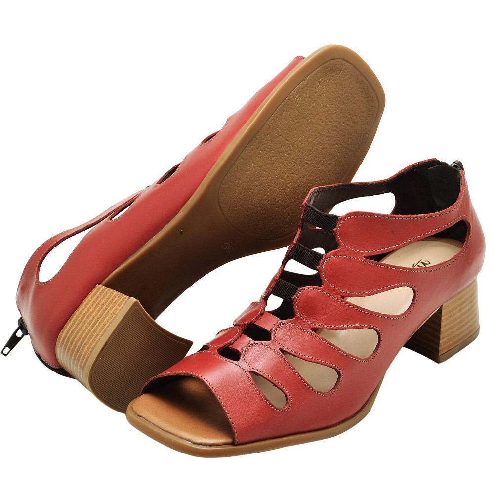79cfa45f2 sandalias femininas salto medio de couro promoção lançamento. Carregando  zoom.