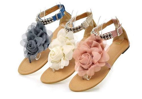 sandálias flat beading decorado de flores femininas