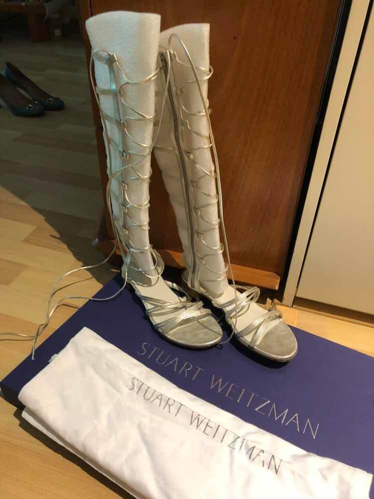 Weitzman7 En 00 Stuart Gladiadoras Plateadas Sandalias 500 vmN08nwO