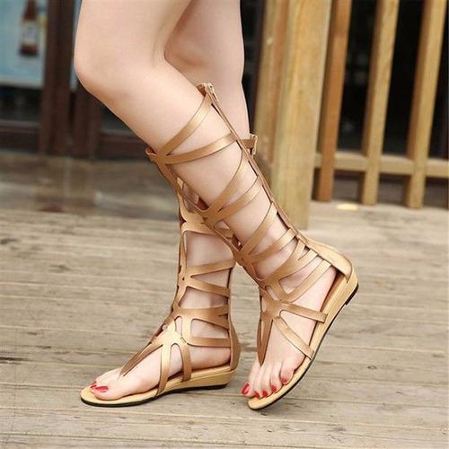 sandalias gold fashion estilo gladiador mujer summer #3 //