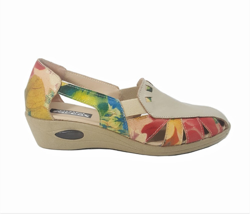 sandalias guaracha cuero floreado gran confort elastizada