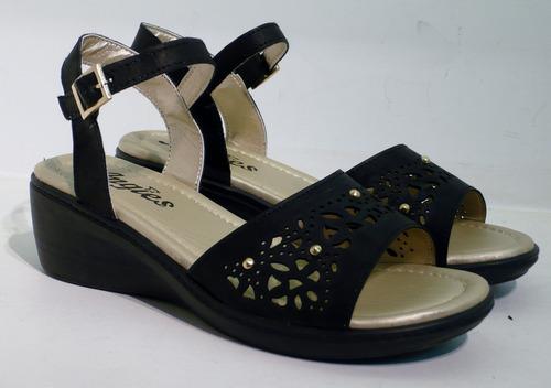 sandalias guillerminas taco chino eco cuero confort
