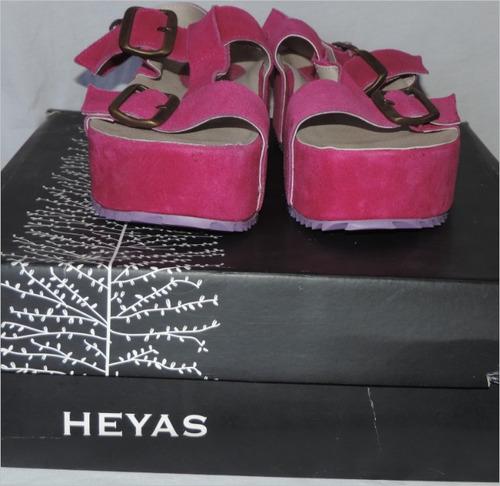 sandalias heyas número 36/37 cuero sintetico fucsia
