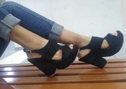 sandalias - mujer cuñas - plataformas - talla 36 negro