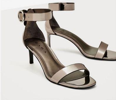 Zara Plateado Mujer Sandalias Peltre Oscuro 54RjL3Aq