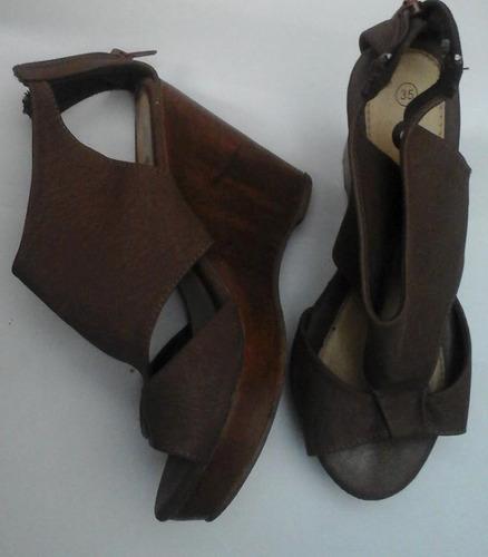 sandalias n 35 cuero y madera para dama. divinas!
