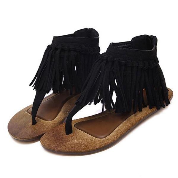Piso24 Borlas Sandalias Con Negras De 5 nOPN8kX0w