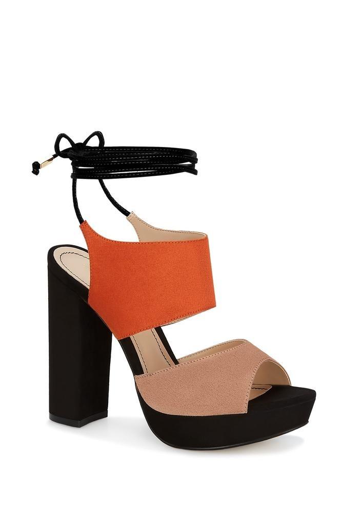 Sandalias Negras Con Naranja Tacón Ancho Mujer Andrea 257902 ... 5bd608a51ca62